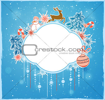 Christmas banner with deer