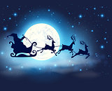 Santa Claus, deers and full Moon