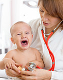 pediatrician doctor with crying baby