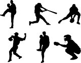 The set of 6 baseball player silhouette