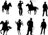 The set of 8 cowboy silhouette