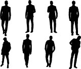 The set of 8  Man fashion silhouette