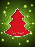 Christmas greeting card with red christmas tree