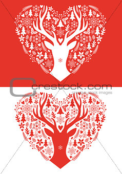 Christmas card with red heart, vector
