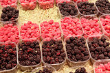 ripe blackberry and raspberry in the shop