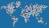 World of plastic - map made of plastic bottles