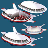Vector fantasy plane front and isometric view
