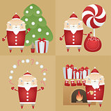 Vector set flat icon Santa Claus with gift box, pine tree, sack, candies, cookie, milk, fireplace