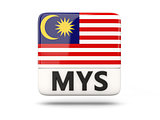 Square icon with flag of malaysia