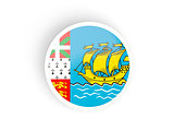 Round sticker with flag of saint pierre and miquelon