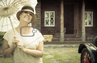1920s Dressed Girl with Parasol Near Vintage Car Portrait
