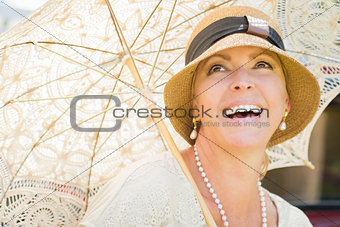 1920s Dressed Girl with Parasol Portrait