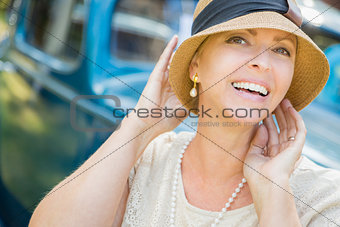 1920s Dressed Girl Near Vintage Car Outdoors Portrait