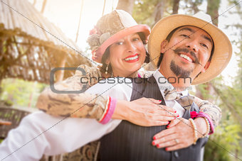 1920s Dressed Romantic Couple Flirting Outdoors