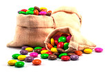 Colorful chocolate candy in mini sack bag