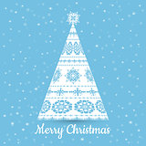 Christmas Greeting Card. Vector illustration.Snowflake Christmas Tree Design