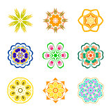 Nine color patterns radially