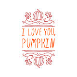 I love you, pumpkin - typographic element