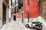 Colorful narrow street in old mediterranean town