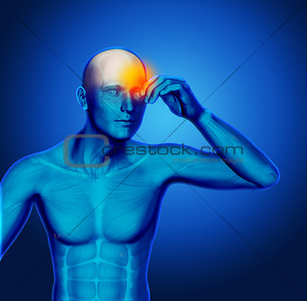 3D blue medical figure holding head in pain