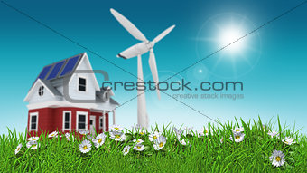 3D render of daisies in grass with house and wind turbine blurre