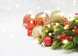 Christmas decorations and bokeh lights