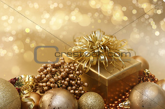 Gold Christmas decorations background