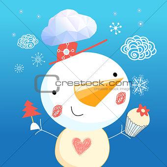 Christmas blue card with snowman