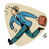 Businessman runn late business people concept character