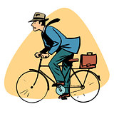 businessman riding bicycle business people concept character