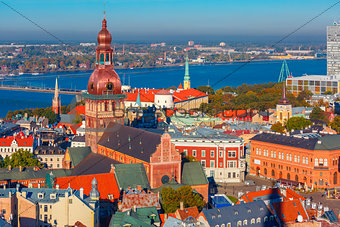 Aerial view of Old Town and Daugava, Riga, Latvia