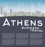 Athens Skyline with Grey Building, Blue Sky and copy space