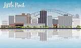 Little Rock Skyline with Grey Building, Blue Sky and reflections