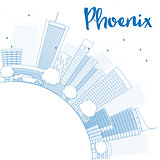 Outline Phoenix Skyline with Blue Buildings and copy space.