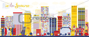 Abstract Rio de Janeiro skyline with color buildings