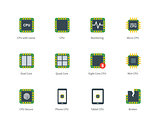 Modern computer processor color icons on white background.