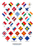 Member state of the European Union and Candidate flags Rhombus form