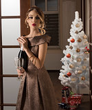 elegant girl in christmas time