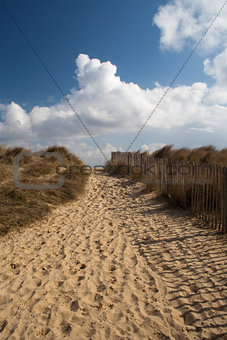 Footpath on Walberswick Beach, Suffolk, England