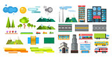Buildings and city transport flat style illustration