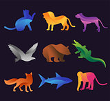 Animal zoo vector icons set