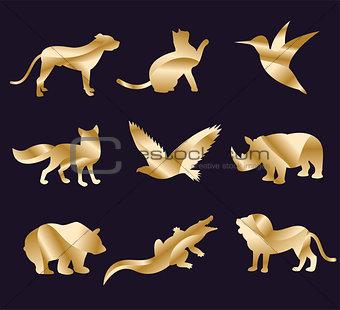 Animal zoo vector icons set