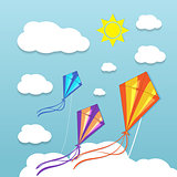 Three kites in the sky
