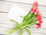 Colorful tulips and greeting card