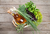 Fresh garden herbs and olive oil