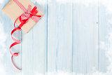 Christmas gift box on wood