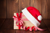 Christmas gift box with santa hat