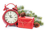 Christmas clock, gift box and snow fir tree
