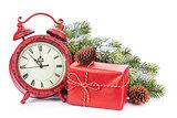 Christmas clock, gift box and snow fir tree