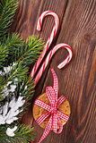 Christmas gingerbread cookies, candy cane and tree branch